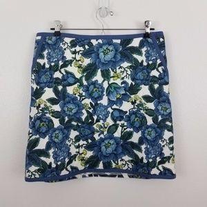 Ann taylor loft skirt pencil straight floral blue
